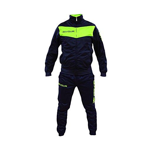 Tuta Uomo Givova Modello Visa Fluo Fitness Tracksuit Calcio Calcetto Palestra (L, Blu/Giallo Fluo)