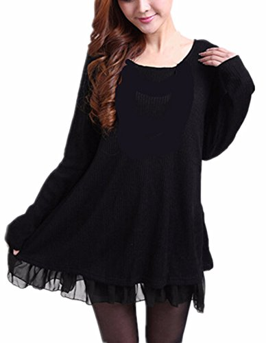 ZANZEA Damen Stricken Chiffon Lace Langarm Jumper Mini Kleid Pullover Schwarz 1 EU 50 / US 18 Pullover Mini Kleid