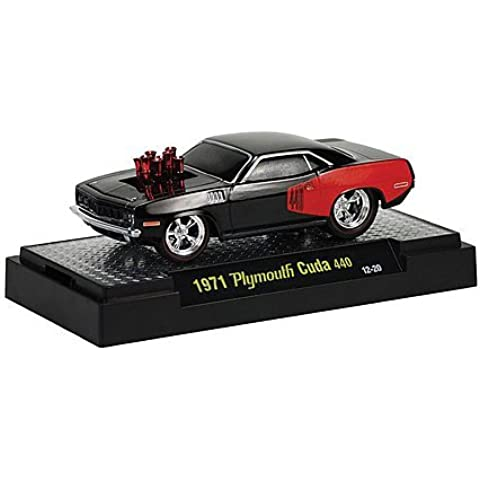 Plymouth Cuda 440, black/red , 1971, Model Car, Ready-made, M2 Machines 1:64 by Plymouth - Plymouth Cuda