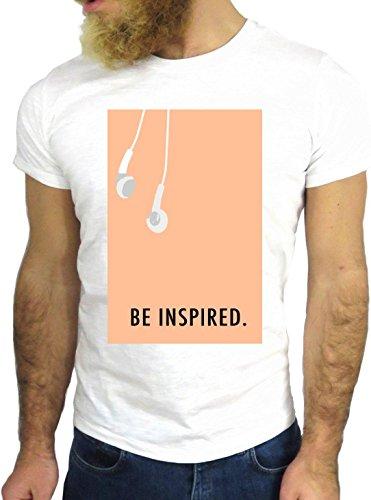 T SHIRT JODE Z1415 BE INSPIRED MUSIC HEADPHONES USA ART FUN COOL FASHION NICE GGG24 BIANCA - WHITE