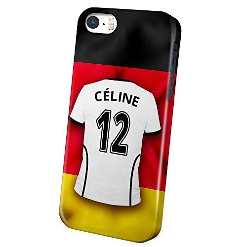 PhotoFancy iPhone 5/5s/SE Handyhülle Premium - Personalisierte Hülle mit Namen Céline - Case mit Design Fußball-Trikot Deutschland zur WM in Russland 2018