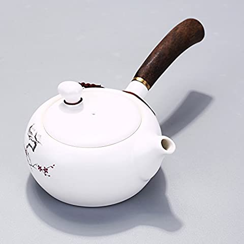 Luxe Manche en bois Pot de théière en céramique Petit peint à la main Porcelaine Kung Fu à thé