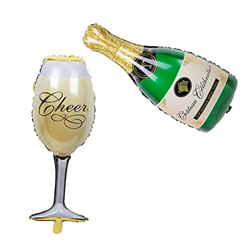 Langxun Aluminiumfolie Champagner Flasche Ballons und Becher Ballons für Geburtstag Dekorationen & Party Dekorationen & Hochzeitstag Dekorationen (Mini-maus-flaschen)