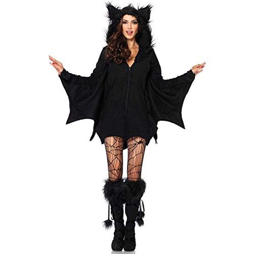 GLXQIJ Costume da Pipistrello Vampiro per Donna di Halloween, Ali, Abito da Festa in Maschera, Cappello E Calze Sexy,Black,M