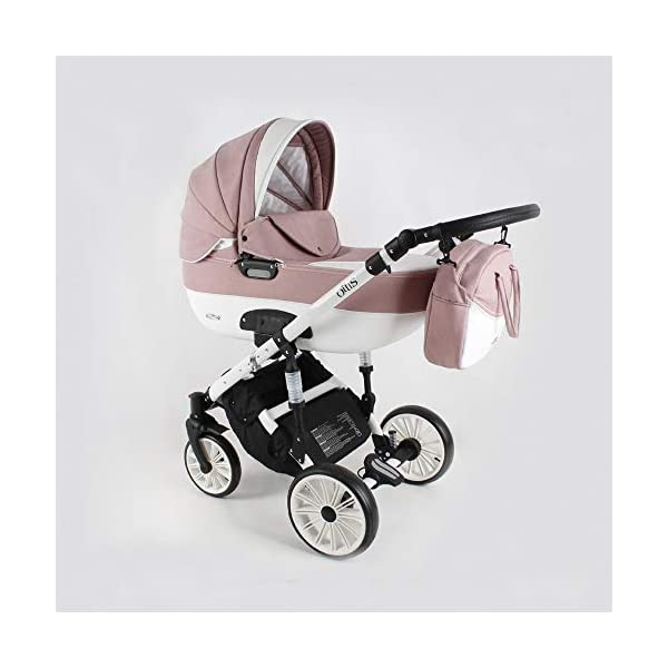 Travel System Stroller Pram Pushchair 2in1 3in1 Set Isofix Ottis We by SaintBaby White OW-02 4in1 car seat +Isofix SaintBaby 3in1 , 2in1 or 4in1 selectable with isofix. With 3in1 you get the car seat (baby seat) in addition. With 4in1 you get both the infant carrier with Isofix mount and an Isofix base for your car. Of course, each set includes the infant carrier (classic stroller) and the buggy attachment (sports seat). The free accessories are also included in each set (changing bag, mosquito net and rain hood). Of course the car complies with the EU safety standard EN1888. During the production as well as before shipping, each car is carefully checked, so that you can be sure to have one of the best cars. Saintbaby stands for all-round carefree packages, so you also get a changing bag in the colour of the car, as well as rain and insect protection free of charge. With all the colours of this pram you will find the pram of your dreams. 1