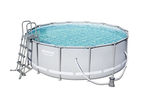 Bestway Power Steel Frame Pool Komplettset, rund, grau, 427 x 122 cm