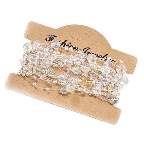 IPOTCH Klare Perlenkette Perlenband Perlengirlande Perlenschnur Girlande Hochzeit DIY Dekor Ort Trim