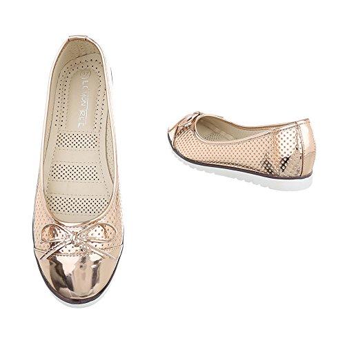 Ital-Design Slipper Damenschuhe Slipper Slipper Halbschuhe Rosa Gold 789-1