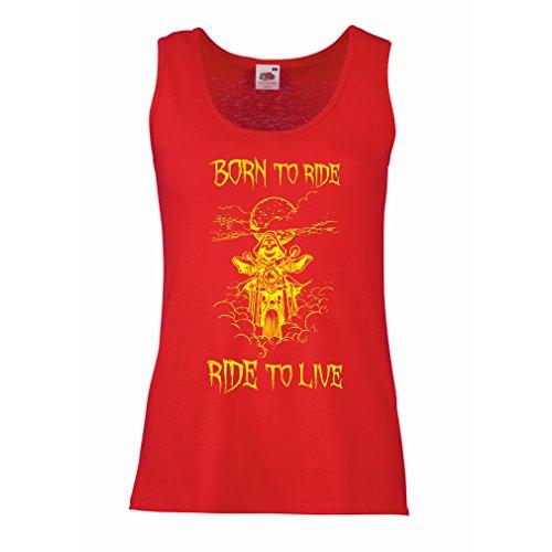 Serbatoio,Maglietta Senza Maniche Femminile Born To Ride! Motorcycle Clothing (Small Rosso Multicolore)