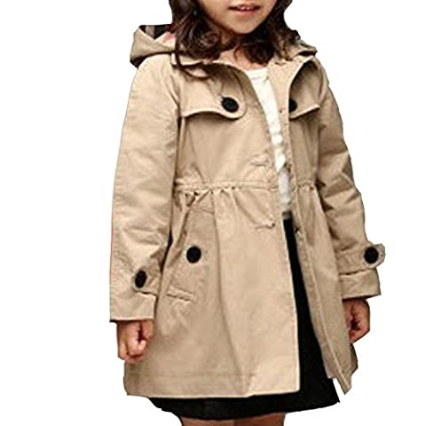 ULA-ULA Manteau Fille Veste a capuche Boutonnage Trench-coat Chapeau peut