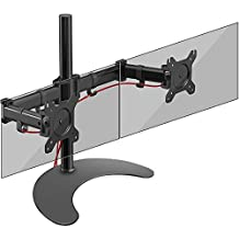 Duronic (Certified Refurbished) Steel DM25D2 Double Twin LCD LED Freestanding Desk Mount Monitor Arm Stand Bracket with Tilt and Swivel - (Adjustable Monitor Arm: Tilt ±45°|Swivel 180°|Rotate 360°)