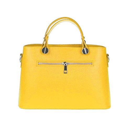 OBC Made in Italy Borsetta Da Donna vera pelle borsa Borsa A Tracolla - grigio-nero, Pelle, ca.: 30x21x11 cm (BxHxT), ca.: 30x21x11 cm (BxHxT) giallo