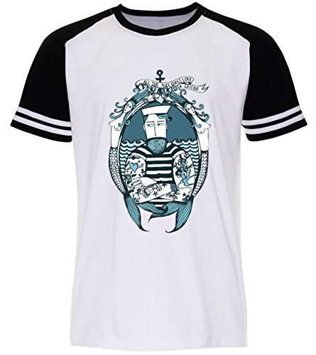 PALLAS Unisex's Beard Vintage Sailor T-Shirt White Sleeve Black