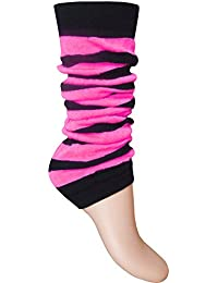 Ladies & Girls Fluorescent Neon Striped Comfort Fit Ankle Leg Warmers