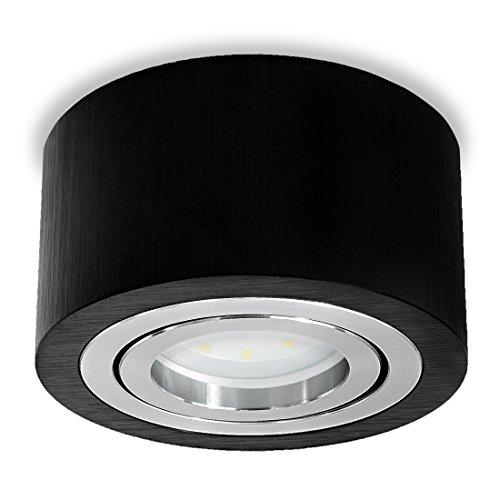 SSC-LUXon runder LED Aufbauspot Schwarz (flach, Alu, schwenkbar) - Aufbaustrahler Ø 90 mm inkl. 5W LED-Modul warmweiß 230V