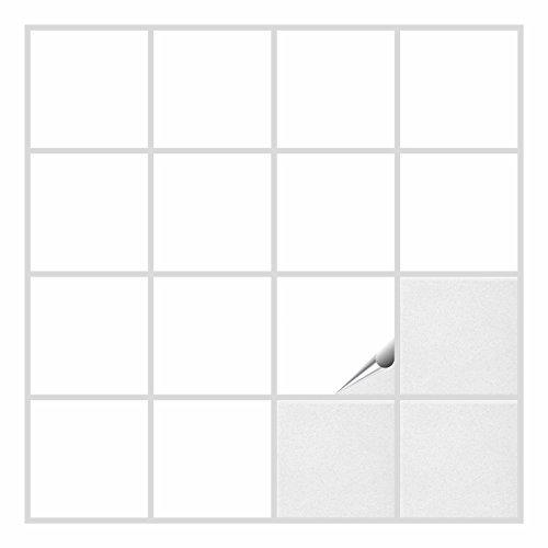 FoLIESEN Fliesenaufkleber für Bad und Küche - 15x15 cm - Weiss glänzend - 200 Fliesensticker für Wandfliesen