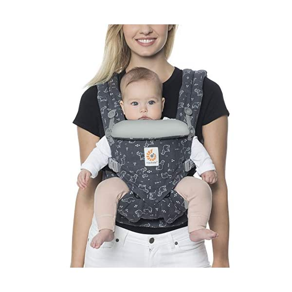 "Ergobaby Baby Carrier Backpack for Newborn to Toddler, 4-Position Omni 360 Trunks Up, Ergonomic Child Carrier Ergobaby Baby carrier with 4 ergonomic wearing positions: parent facing, on the back, on the hip and on the front facing outwards. Supports hip-healthy ""m"" shape position for baby's comfort and ergonomics. Adapts to baby's growth: Infant baby carrier newborn to toddler (7-33 lbs./ 3.2 to 20 kg), no infant insert needed. Tuck-away baby hood for sun protection (UPF 50+) and privacy. NEW - Maximum comfort for parent: Longwear comfort with lumbar support waistbelt and extra cushioned shoulder straps. 7"
