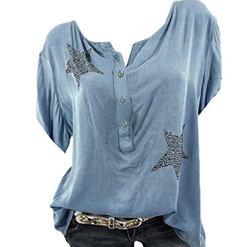 Frauen Sommer Sexy V-Ausschnitt Casual Large Size Tops Shirts, Mode Button Up Kurzarm Pentagram Print Bluse Tunika - Scoop Neck Knit Kleid