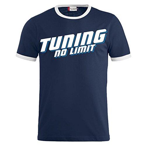 Männer und Herren T-Shirt TUNING - NO LIMIT (mit Rückendruck) Dunkelblau/Weiß