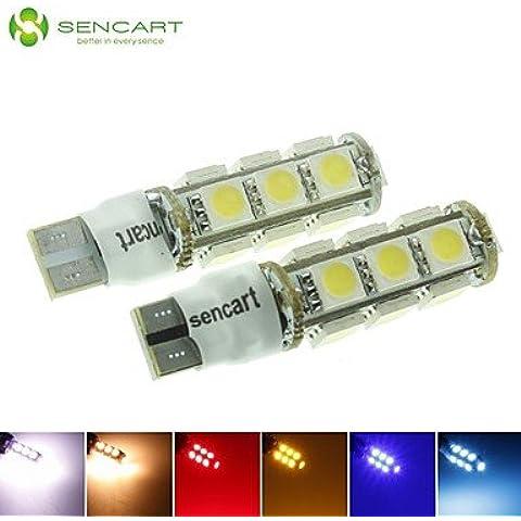 LIROOTT10 149 W5W 3,5 W a 2 modalità Blue/Rosso/Bianco caldo/verde/giallo/bianco 13X5050SMD LED 140LM per auto lampadina della luce (DC12-16V) , ruby