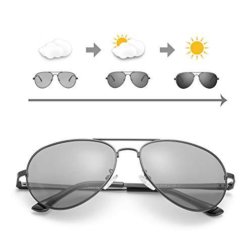 OSVAW Sonnenbrille Herren Photochromatisch Polarisiert Selbsttönend Metallrahmen für Autofahren Laufen Radfahren Angeln Golf 100% UVA UVB Schutz Hoch (Schwarzer Rahmen/graue photochrome Linse)