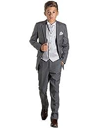 Paisley of London, niños traje gris, página niño traje, chaleco a rayas, corte ajustado, traje 12a18M–13años