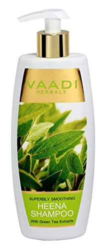 Vaadi Herbals Superbly Smoothing Heena Shampoo with Green Tea Extracts, 350g