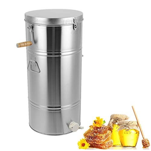 Greensen Honigschleuder Edelstahl Manuelle Bienenhonig Honig Extraktor Honey Schontrommel für Imker 2 Waben Innere Gehäusegröße 25 X 45CM