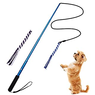 ANG Extendable Flirt Pole Rope Tug Dog Toy, with 2 Durable Braided Cotton Blend Rope, Outdoor Interactive dog toy for Pulling, Chasing, Chewing, Training,Exercising Bule (L)