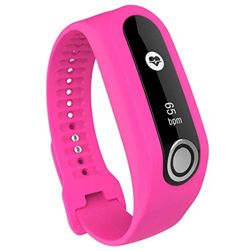 TomTom Touch Armband, SHOBDW Ersatz Silikon Band Strap für TomTom Touch Cardio Activity Tracker (Heiß Rosa, 19cm-24cm)