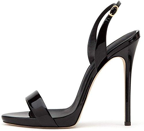 elashe- Scarpe da Donna - Sandali con Tacco Alto - 12CM Sandali- Sandali della Cintura della Caviglia Nero EU39