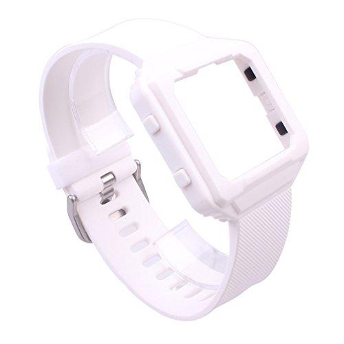 Preisvergleich Produktbild Tonsee Smart Uhr Frame Gehäusedeckel Silikonhülle + Band Gurt für Fitbit Blaze (Weiß)