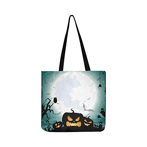Halloween Nacht Konzept Poster Leinwand Tote Handtasche Schultertasche Crossbody Taschen Geldbörsen Für Männer Und Frauen Einkaufstasche