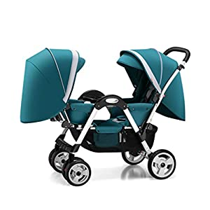 Pushchairs Twins Baby Stroller Fold Babys Newborn Double Face to Face Trolley Reclining Can Sit and Folding Baby Pram Prams (Color : Blue)   13