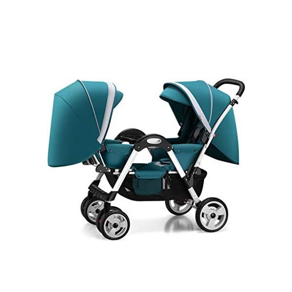 Pushchairs Twins Baby Stroller Fold Babys Newborn Double Face to Face Trolley Reclining Can Sit and Folding Baby Pram Prams (Color : Blue) YC electronics Connect Tandem Pushchair. Rear seat is suitable for new-borns as it features full lie flat mechanism, whereas the 2-position recline seat at the front is suitable for babies over 6 months. Convenient one-hand standing fold, featuring an automatic storage latch that folds effortlessly, Maximum weight capacity is 25 Kg. 1
