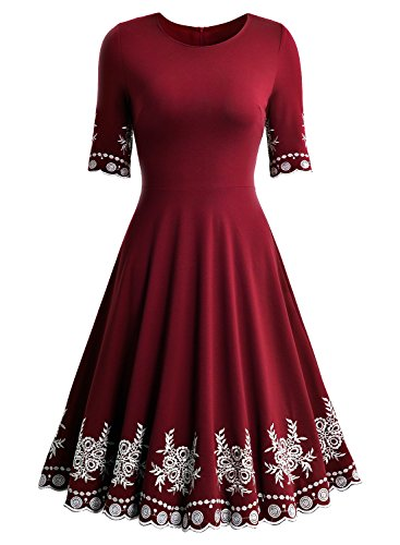 Miusol Abendkleid Sommer Kurz Vintage Rockabilly Kleid Cocktail Ballkleid - 3