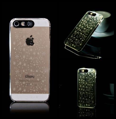 Lumière Clignotante Motif Transparent Coque rigide pour Apple iPhone 5/5S & 6/6S, SMALL SNOW FLAKE, APPLE IPHONE 5SE