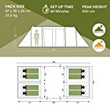 Skandika Montana Family Group Tunnel tent with Sun Canopy, 3 Sleeping Cabins, 200 cm Peak Height, 5000 mm Water Column, Blue, 8-Person