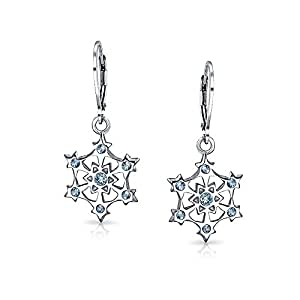 Bling Jewelry 925 Sterling Silver Star CZ Snowflake Simulated Blue Topaz Leverback Earrings