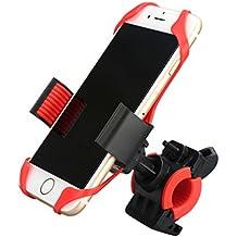 Enkeeo - Soporte Montura de Teléfono Móvil Bicicleta (silicona banda, agarre con caucho, 360 rotación, compatible con iPhone, Samsung Galaxy, etc.) Negro