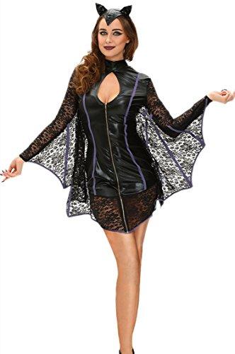 Kostüm Hausfrau Leg Zombie Avenue (Fortuning's JDS Frauen-Spitze-flirty Vampirs-Schläger-Kostüm)