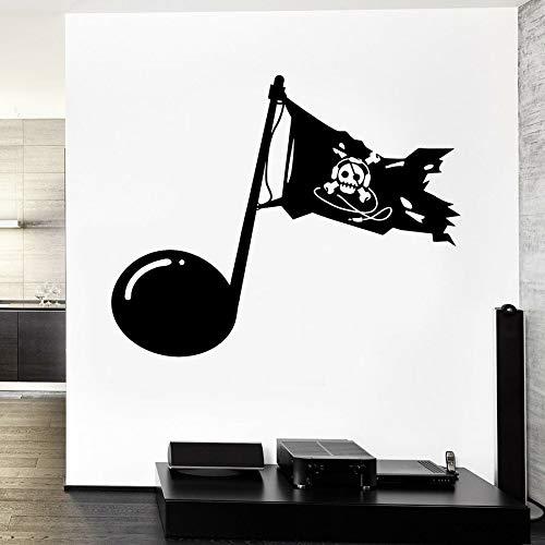 Tianpengyuanshuai Musik Note Wandtattoo personalisierte Piratenflagge Dekoration Junge Schlafzimmer Wohnzimmer Vinyl Fenster Aufkleber 42x51cm