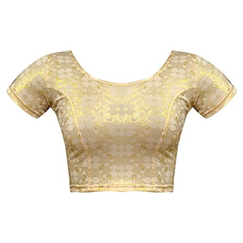Bindigasm's ADVI Women's Shimmer Lycra Blouse (2044-L_Dark Gold_Large)