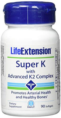 Life Extension , Super K mit weiterentwickeltem K2 Komplex , 90 Kapseln , hochdosiert , ohne Gentechnik , Mit Vitamin K1 und K2 ( mk4 und mk7 ) - Faser-ergänzung Kapseln