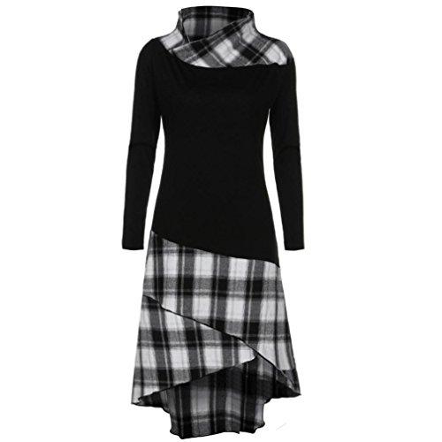 OVERDOSE Damen Casual Kariertes Kleid Hoher Kragen Lange Ärmel Kleid Ostern Partei-Kleid Büro Kleid Frühling Blusenkleid (Mädchen Nette 1950er Jahre Kostüm)