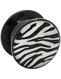 Blue Banana Body Piercing Dilatación Acrílico Zebra Ear Plug (Negro/Blanco) - 5