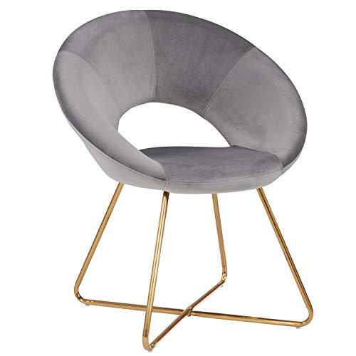 Duhome Esszimmerstuhl Stoffbezug (Samt) Grau Konferenzstuhl Besucherstuhl herausragendes Design Farbauswahl 439D -