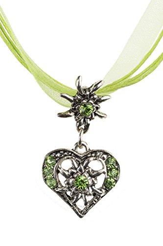 Trachtenkette elegantes Herz mit Strass und Edelweiss in vielen Farben - Anhänger Trachtenschmuck Kette für Dirndl und Lederhose Damen (Grün)