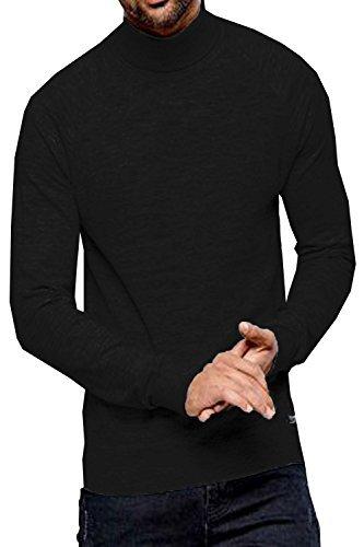 Threadbare Herren Logan Rollkragen Pullover - Tiefschwarz, L (Gerippt Rollkragen Baumwolle)