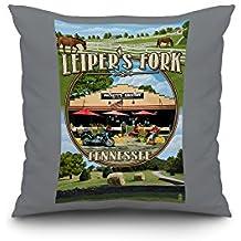 Leiper's Fork, Tennessee - Montage Scenes (18x18 Spun Polyester Pillow case, Custom Border)